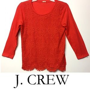 J. CREW Floral Lace Front SWEATER TOP Tshirt